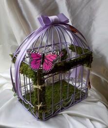 urne cage oiseau decoration mariage theme papillon parme - Urne Mariage Cage